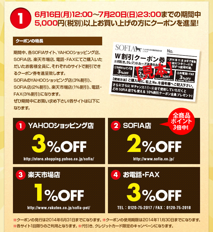 6月16 日(月)12:00~7 月20日(日)23:00までの期間中5,000 円(税別)以上お買い上げの方にクーポンを進呈!